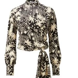 Carine Roitfeld for Uniqlo Floral Wrap Blouse